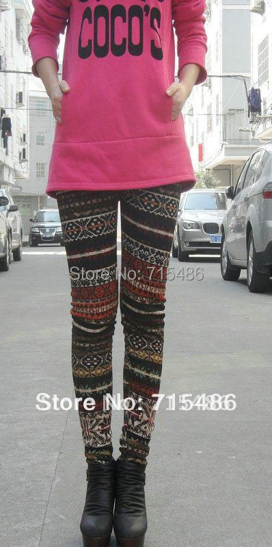 Newly Design Free shipping Winter Warm Leggings Ladies Skinny Mixed Colors  Women Cotton Leggings
