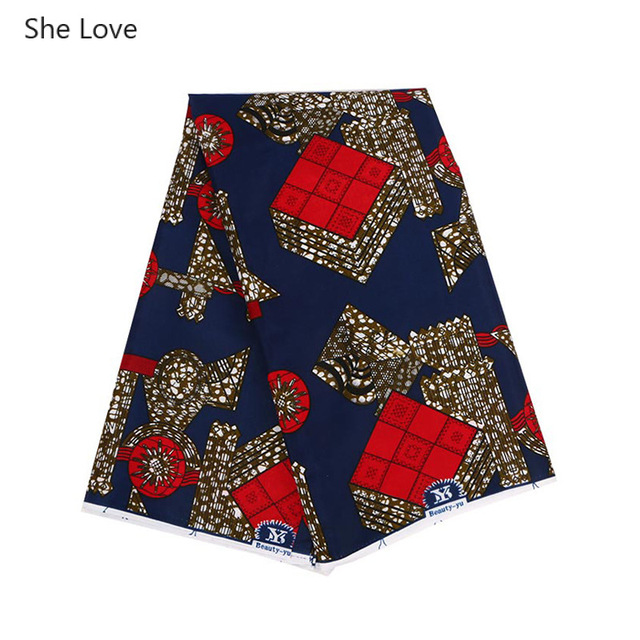 She Love 1 Yard Ankara African 100% Polyester Wax Prints Red Rhombus Fabric For Garment Clothes Diy Sewing Materials