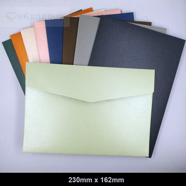 25 pcs 230x160mm (9x6.2 polegada) Engrossar Papel da Pérola Cor Envelopes Convite Envelopes de Presente
