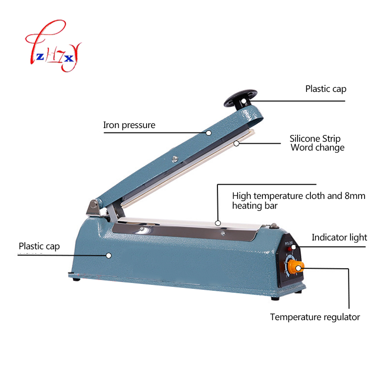Manual Plastic Film Sealer Machine Heat Impulse Sealer Poly Bag Plastic Film Sealing Machine for Home Kitchen 220V 50Hz 1pc portable impulse bag sealer 110v 300w heat sealing impulse manual sealer machine poly tubing plastic bag household tools hot
