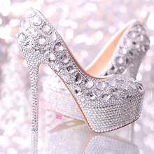Wedding shoes women high heels crystal Fashion Bridal Dress shoes woman platforms silver rhinestone Party Prom pumps