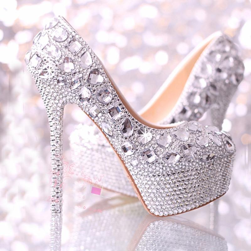 Wedding Shoes Women High Heels Crystal Fashion Bridal
