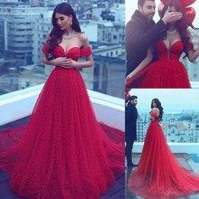 Dài Xòe Chữ A OFF The Vai Đỏ Chiếu Trúc Hạt Hứa Áo Ngọc Trai Tinh Thể Ả Rập Saudi Váy Dạ Hội