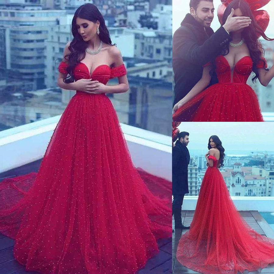 Long Prom A-line Off-the-shoulder Red Beading Prom Dresses Pearls Crystals Saudi Arabia Evening Gowns