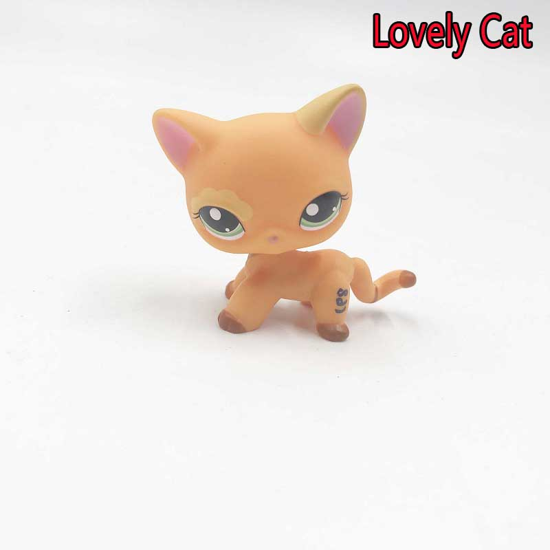 Cute Animal Yellow Cat Lps Pvc Action Figure Toy Little New Lovely Cat Collection Pets Kawaii Shop Toys Children Classic Jouet lps pet shop toys rare black little cat blue eyes animal models patrulla canina action figures kids toys gift cat free shipping
