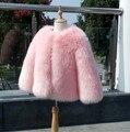 Girls faux fur coat pink top quality jungen winterjacke BLACK cardigan kids teenage teens clothes girl baby jacet