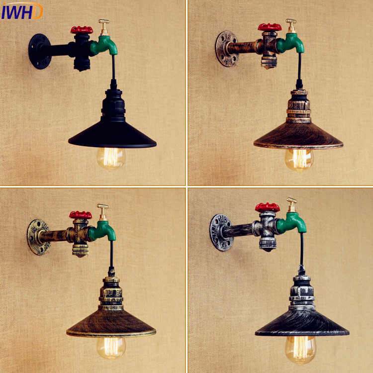 IWHD Rustic Retro Vintage Wall Light Fixtures Home Lighting Water Pipe Wall Lamp Industrial LED Edison Sconce Lamparas De Pared retro loft edison wall lamp bedroom vintage wall lights for home up down rustic industrial wall sconce lamparas de pared