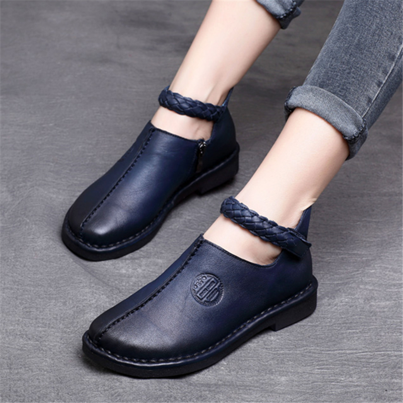 Tyawkiho Genuine Leather Women Flats Ankle Strap Low Heel Women Casual Shoes Soft Bottom Retro Embroidery