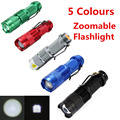 5 Colors High-quality Mini Black 2000LM Waterproof LED Flashlight 3 Modes Zoomable LED Torch Penlight Free Shipping