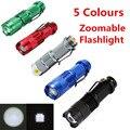 5 Cores de Alta Qualidade Mini Preto 2000LM LED Lanterna 3 Modos Zoomable LED Tocha Lanterna À Prova D' Água Frete Grátis