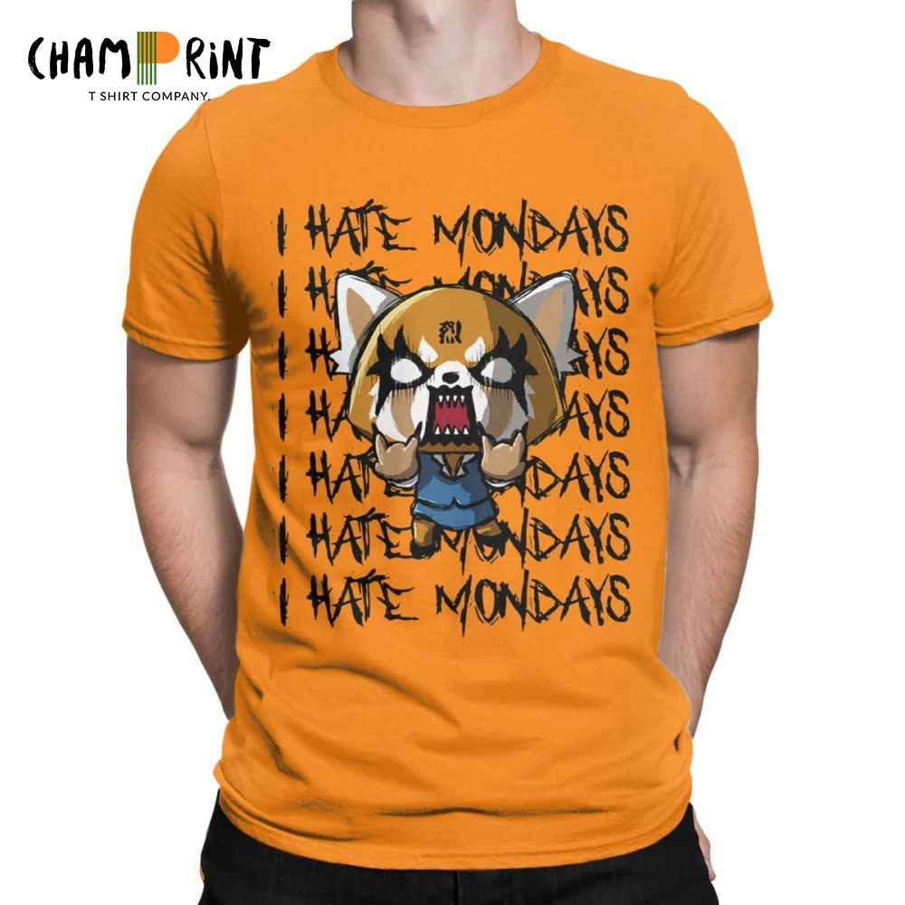 Men Aggretsuko Aggressive Retsuko I Hate Monday T Shirts 100% Cotton Clothes Funny Short Sleeve O Neck Tees Printing T-Shirts