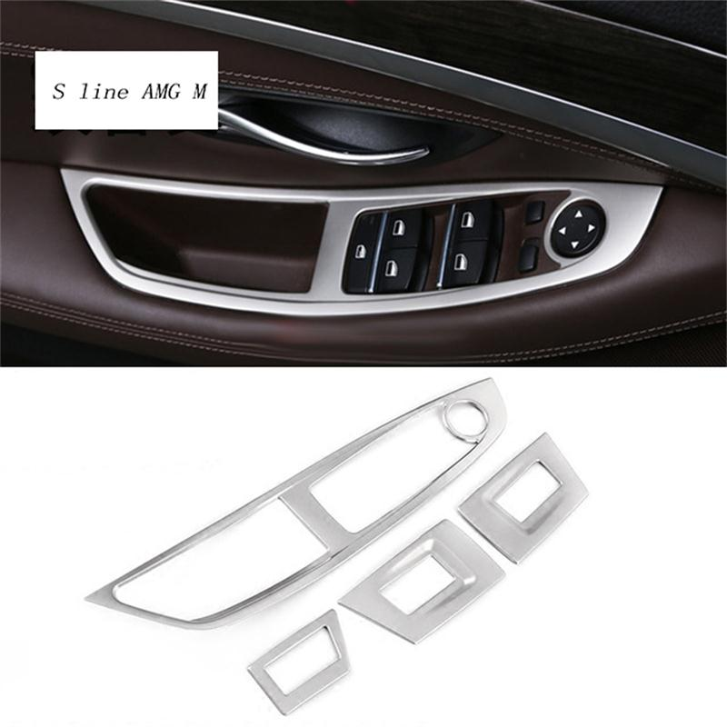 Car styling Window Lifter Control Frame Window Switch Decor Armrest Panel Cover Sticker for BMW F10 5 series Accessories LHD