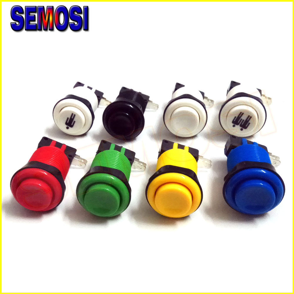 American Style Push Arcade Buttons with Microswitches 28mm Mounting Hole Long Arcade Button for Games Parts