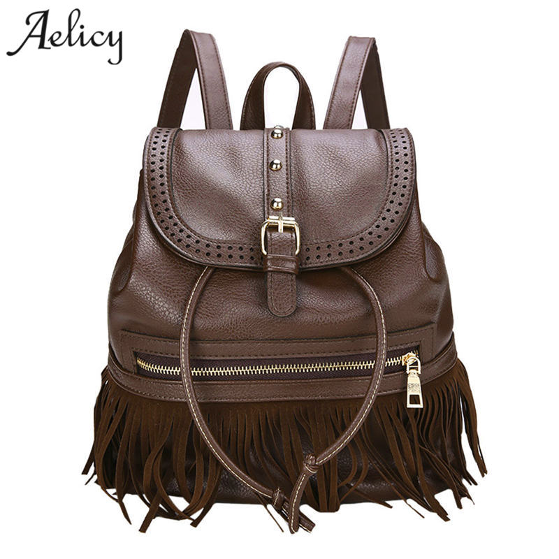 Aelicy Backpack Women Backpack Solid Backpacks Female Vintage Womens Backpack Travel Tassel Rucksack Drawstring School Bags
