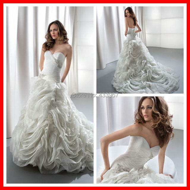 Organza Fit And Flare Pleated Bodice Sweetheart Neckline