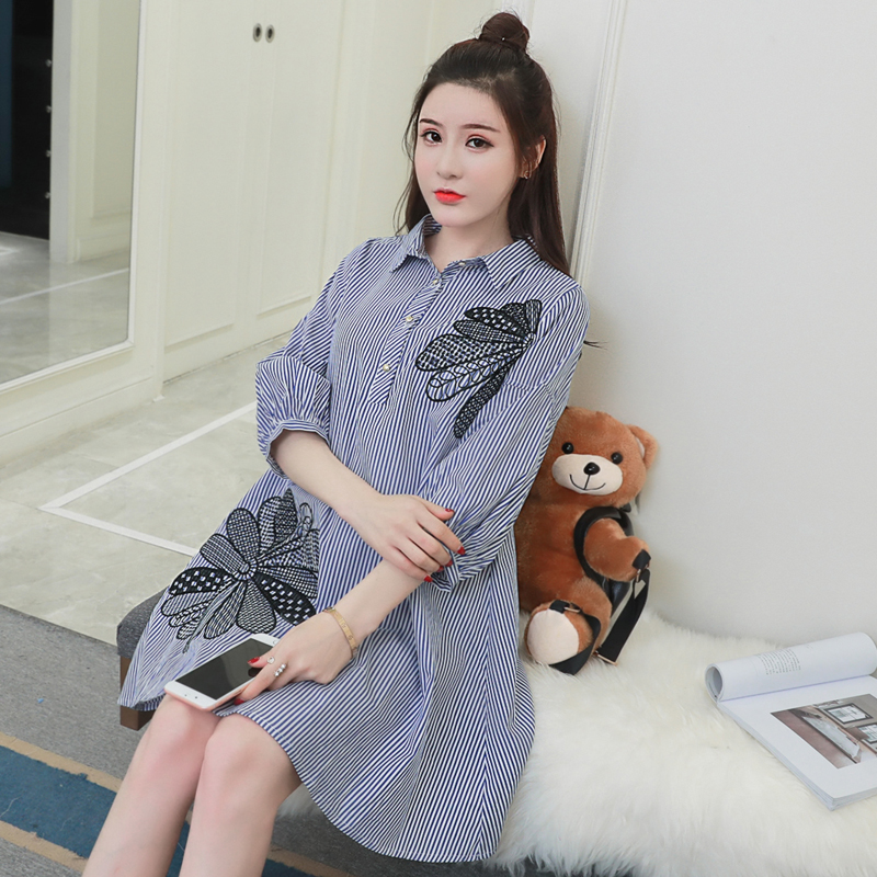 2018 Embroidered Stripes Maternity Clothes Pregnancy Blouses & Shirts Loose Maternity Clothing Of Pregnant Women Spring