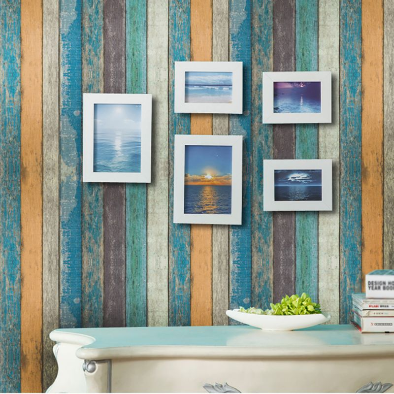 Купить с кэшбэком PVC self-adhesive backing wallpaper Antique wooden stripes wallpapers 45*100cm home store decorated White brick Wall Stickers