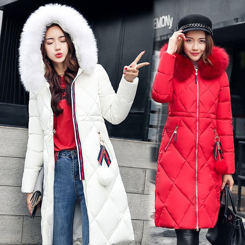 Winter Women Overcoat Plus Size Korea Thicked Cotton Jacket Overknee Parkas Fur Collar New Arrival Coat With Hood Outwear MY0009 2017 new men s uniform fleece parkas fashion embroidery hood plus size thicked air pilot jacket coat for men pull homme d20f9935