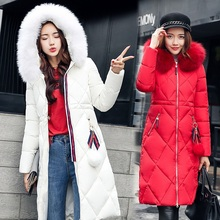 Winter Women Overcoat Plus Size Korea Thicked Cotton Jacket Overknee Parkas Fur Collar New Arrival Coat With Hood Outwear MY0009