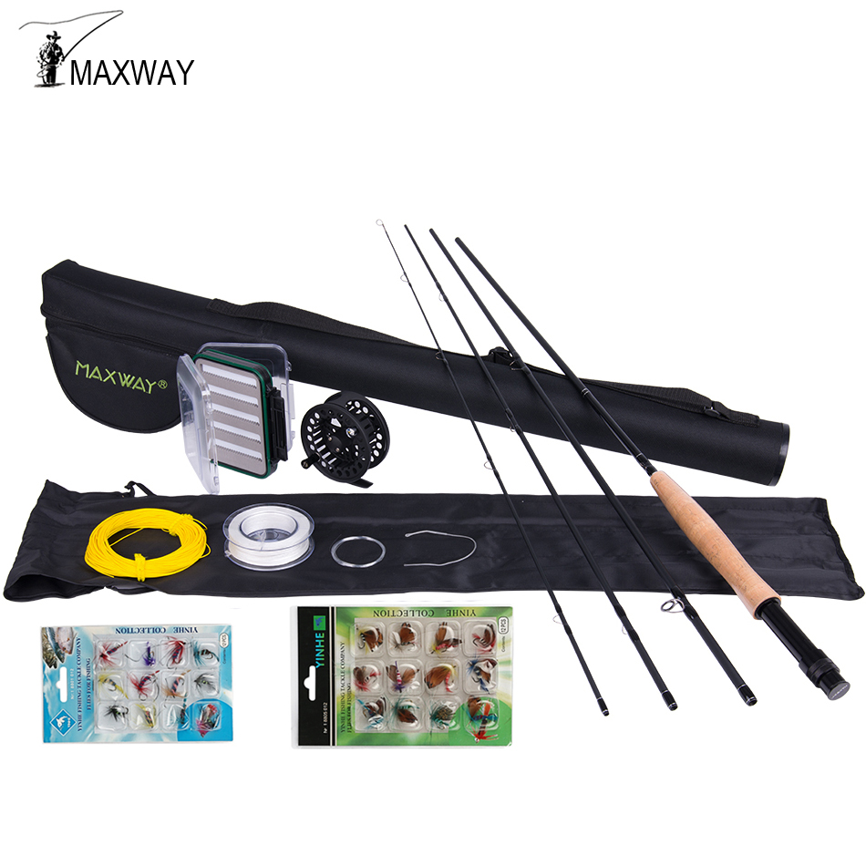 Maxway 3/4 5/6 7/8 Fly Fishing Kit Carbon Fly Fishing Rod and Reel Combo with Flies Fly Fishing Line Set maxway 3 4 5 6 7 8 fly fishing set carbon fly fishing rod reel with line files line connector fly fishing rod combo