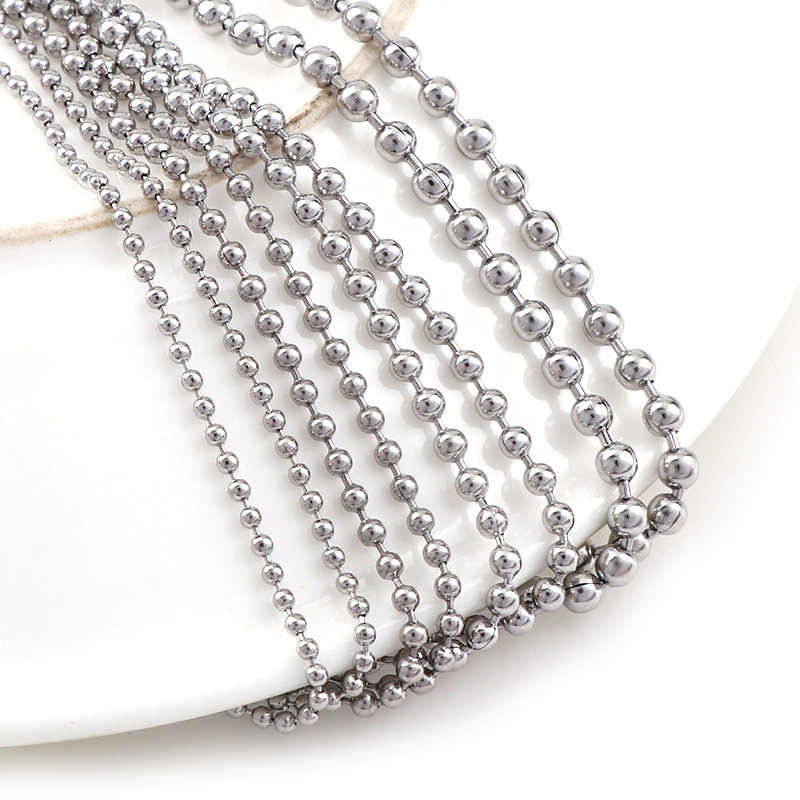 b49235fa3a60d 5 Meters Stainless Steel Beaded Ball Chain Bulk Jewelry Chains Dia 1.5mm  2mm 2.4mm 3mm For Necklaces Jewelry Making Supplies