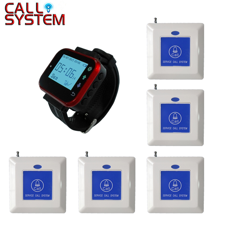 1 watch hand receiver 5 bed call button waterproof Emergency call button for elderly used in clinic hospital wireless service call bell system popular in restaurant ce passed 433 92mhz full equipment watch pager 1 watch 7 call button