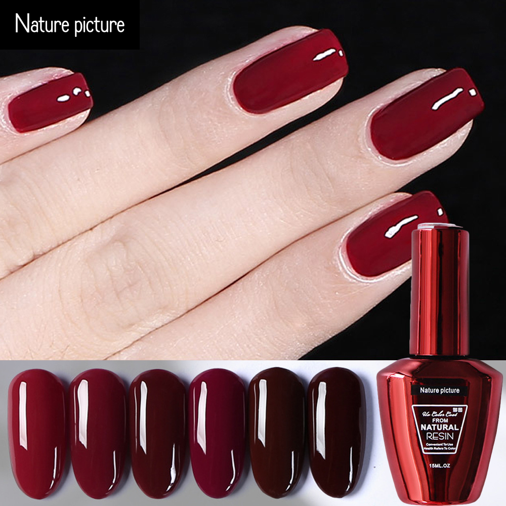 Nature picture 15 ML UV Gel Nail Polish Soak Off Wine red deep red ...