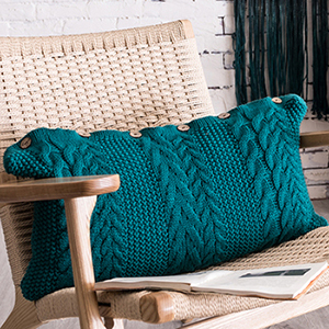 Teal rectangle knit cushion