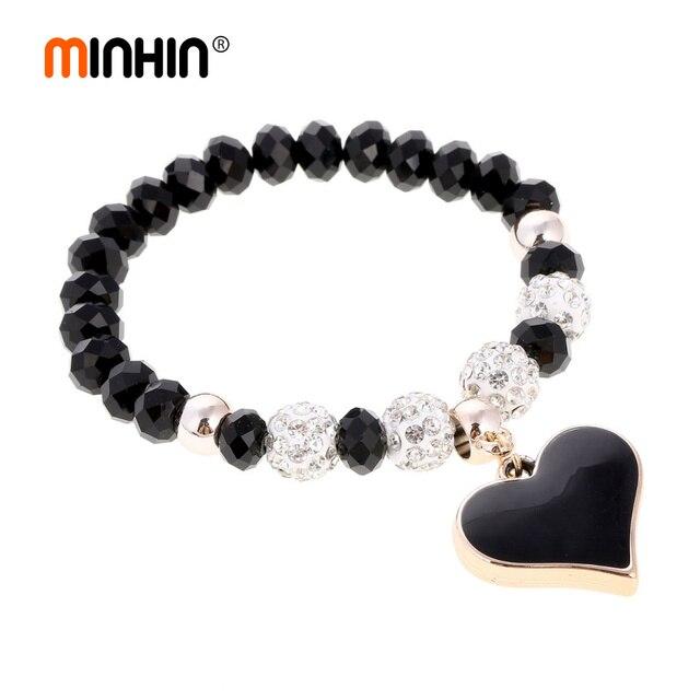 c86d8e280222f MINHIN 6 colores perlas encanto pulsera para las mujeres amor corazón  colgante pulseras elásticas brazaletes boda