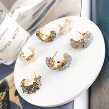 MENGJIQIAO, винтажные японские корейские круглые цветные серьги-кольца с кристаллами, модные серьги с искусственным жемчугом, Букле д 'ореиль, ювелирные изделия для девочек