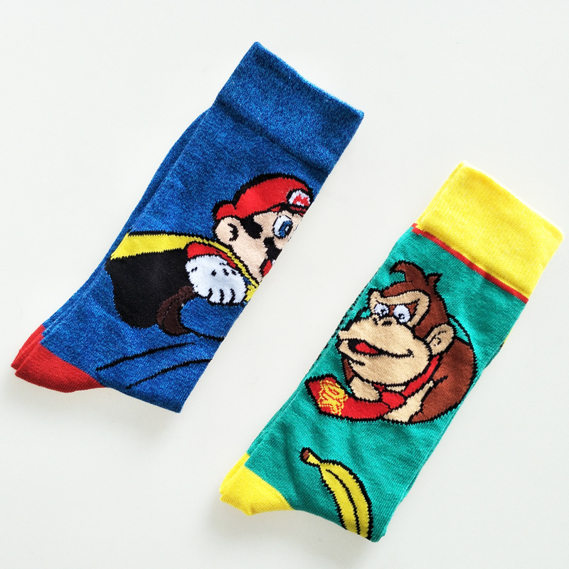 Cartoon Donkey Kong Mario Socks Monkey Fashion Novelty Personalized Men Sock Autumn Comfort Sweat Absorption Cotton Crew Socks