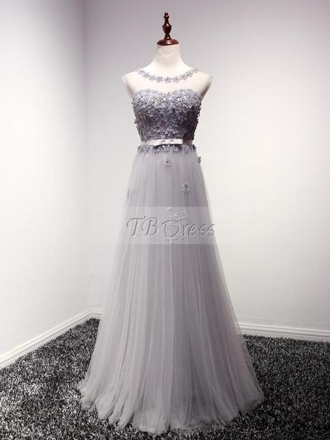 Grey Bridesmaid Dresses 2017 Sheer Neck Tulle Maid Of Honor Hand Made Flower Lace up Plus Size Long Wedding Party Gowns 6201520