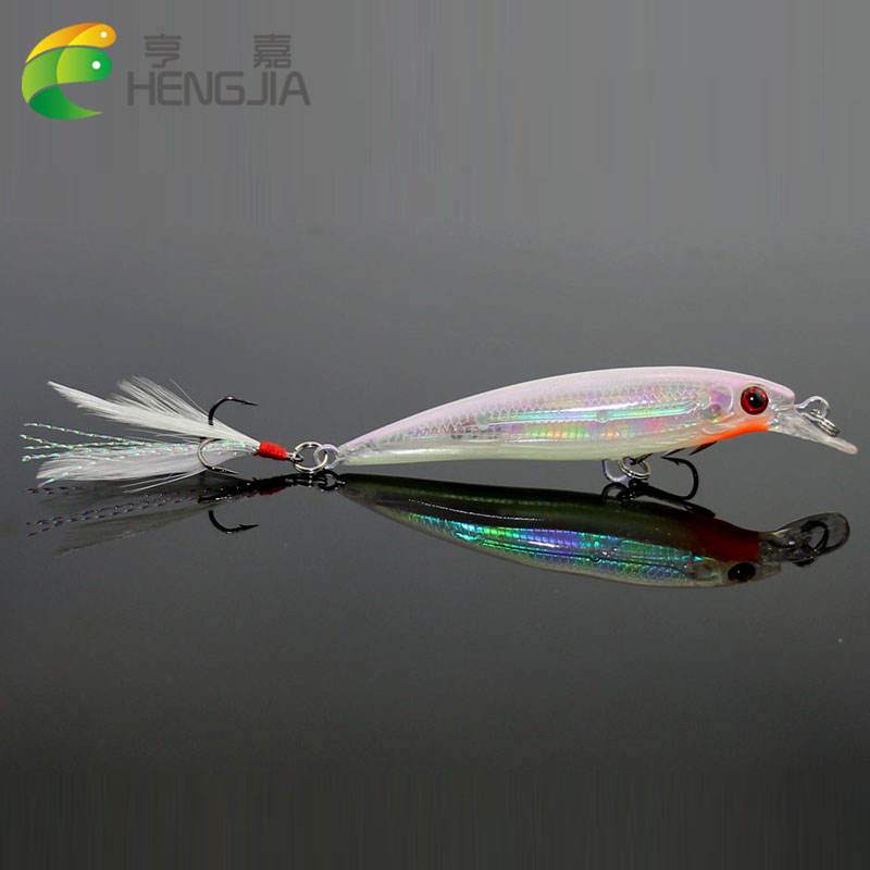 1pc Fishing Lure 7.2G 9CM Minnow Wobblers Hard Bait with Feather Hook Isca Artificial bait Crank Swimbait pesca Fishing Tackle