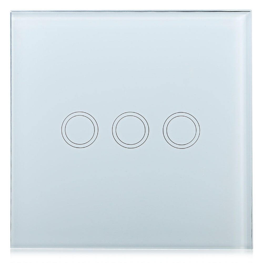 Smart Touch Wall Switch 3 Gang Single Way Intelligent Controller Crystal Tempered Glass Panel Home Switch with Remote Control 1 way 3 gang crystal glass panel touch screen home light wall switch remote controller ac100 250v