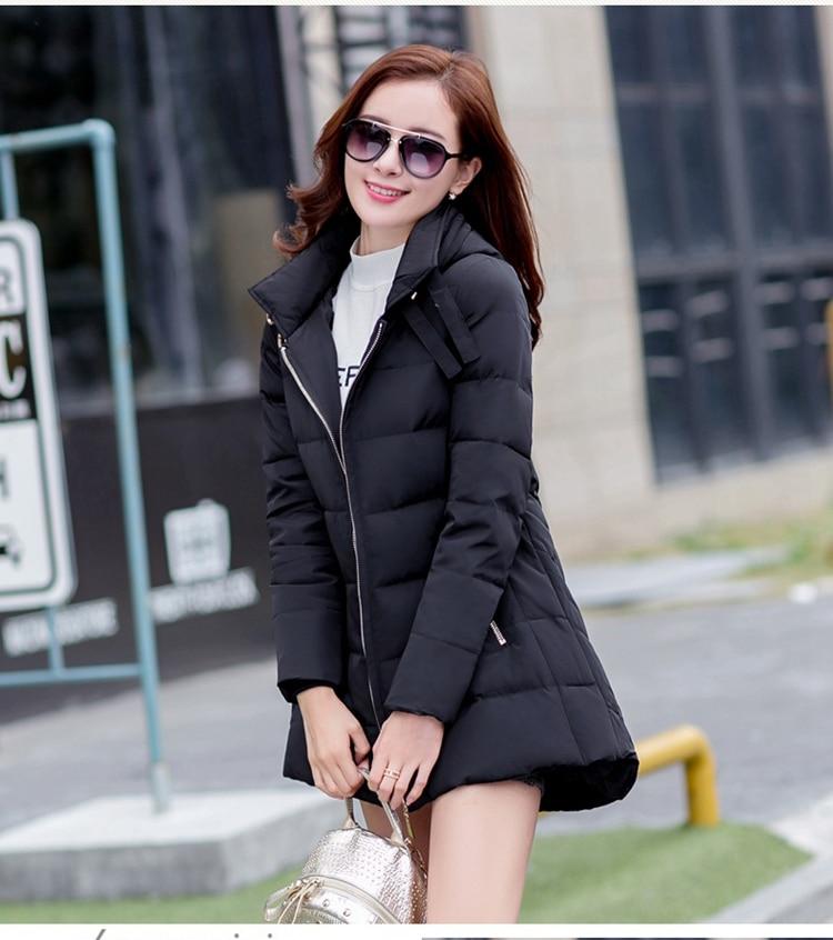 2018 nieuwe hot koop plus size parka met hoed zwart marineblauw grijs rood jassen winter jassen voor vrouwen - 4