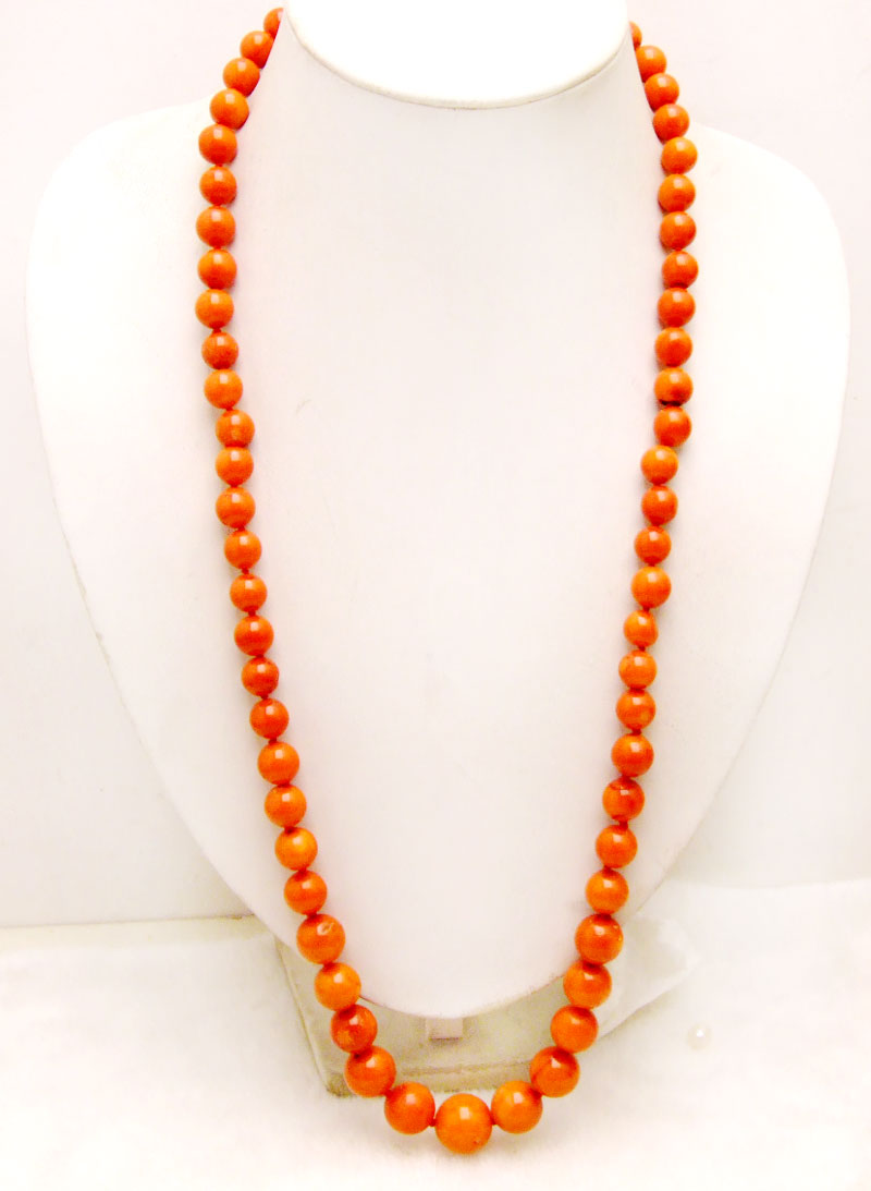 Qingmos Big 10-15mm Orange Round High Quality Natural Coral 30'' Sweater Necklace for Women-nec6158 Wholesale/retail Free ship sale super long 34 huge 9 15mm graduate high quality round orange nature coral necklace nec5365 wholesale retail free ship