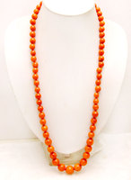 Qingmos Big 10 15mm Orange Round High Quality Natural Coral 30'' Sweater Necklace for Women nec6158 Wholesale/retail Free ship