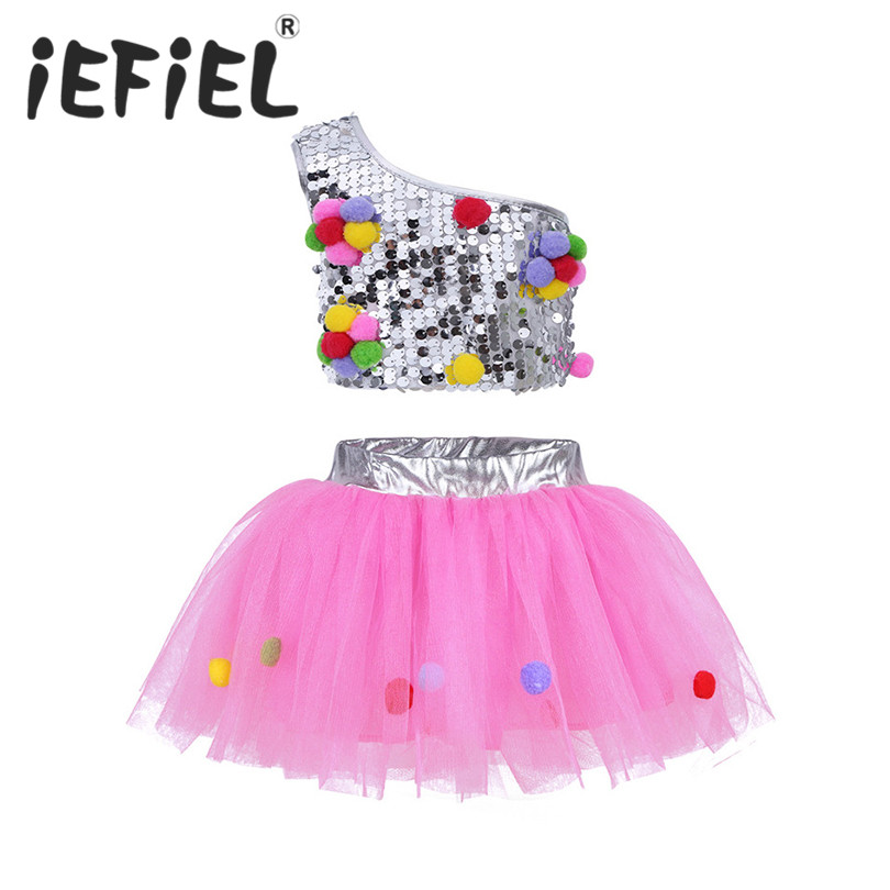 iEFiEL Kid Girls Outfit One-Shoulder Sequins Crop Top with Mesh Tutu Skirt Hair Clip for Jazz Ballet Ballroom Performance Dance