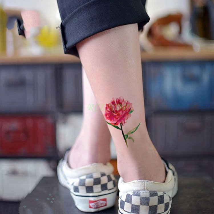 Waterproof Temporary Tattoo beautiful red flower leaf tatto stickers flash tatoo fake tattoos for girl women lady