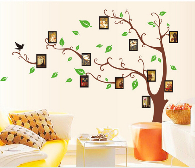 Family Tree Wall Stickers For Living Room Green Leaf Wall Stickers For Bath  Room Office Nature