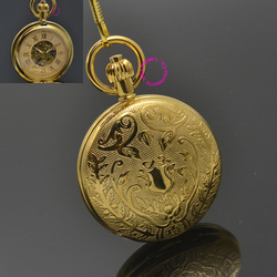 Man Mechanical Pocket Watch Father Shield Flower Retro Vintage Classic Gold Ipg Plating Copper Brass Case Good Quality Hour