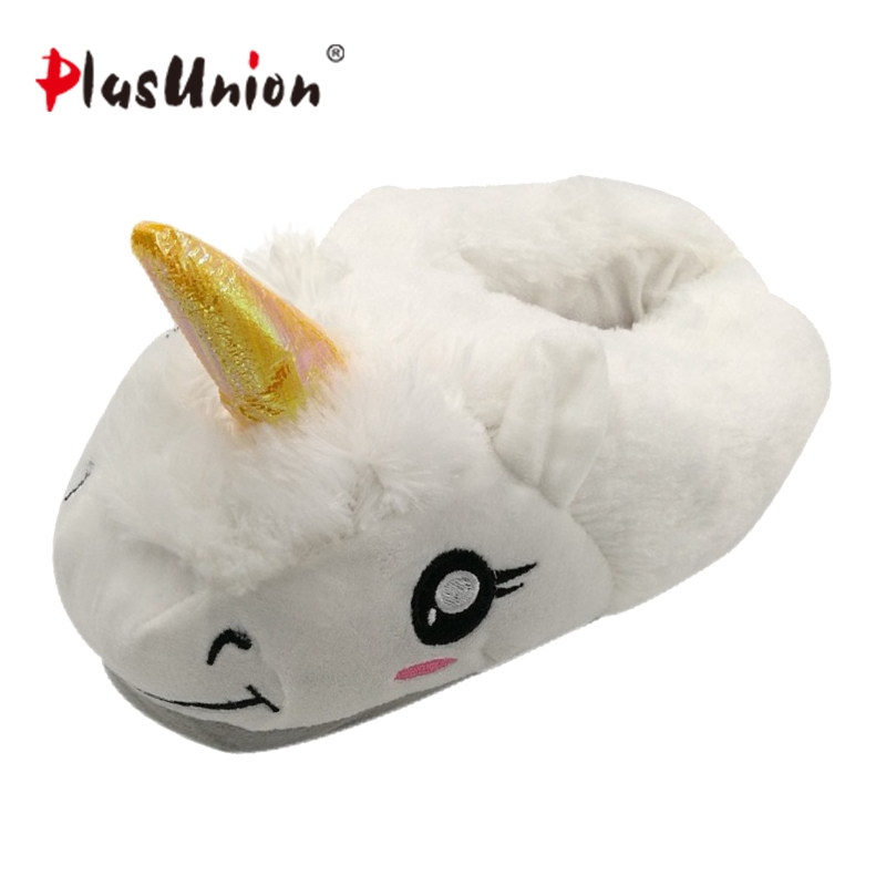 indoor cartoon cute plush unicorn slippers for women adult warm animal shoes furry fluffy unicornio shoe house winter home anime 2017 totoro plush slippers with leaf pantoufle femme women shoes woman house animal warm big animal woman funny adult slippers page 8