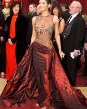 O Neck Transparente Stickerei Mieder Celebrity Kleider 2016 Burgund Mermaid Abendkleid Split Front Frauen-partei-kleid CD01