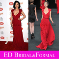 Dita Von Teese Dress  Red Chiffon Celebrity Prom Gown Formal Evening