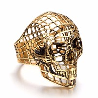 Fashion Mens Gold Color Big Skulls Rings Punk Style Stainless Steel Ring Jewelry Dropshipping
