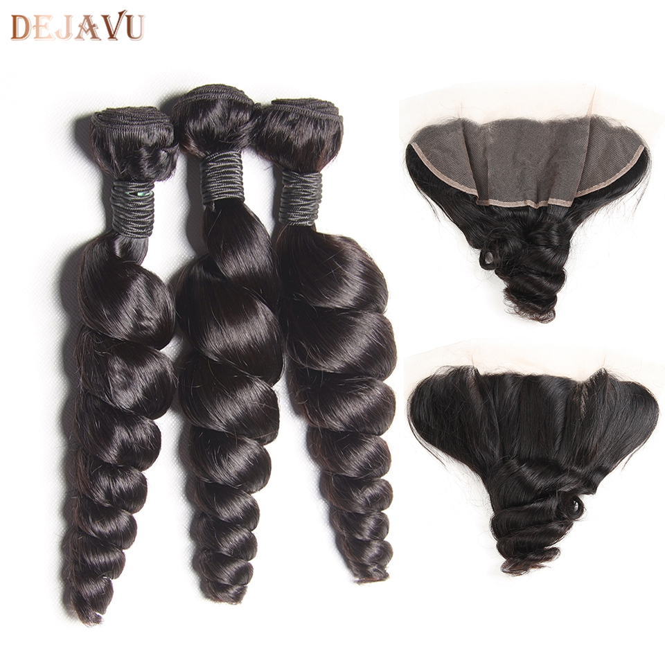 Brazilian Hair Weave Bundles With Lace Frontal Closure 13*4 Inch Human Hair 3 Bundle Deals Loose Wave Non Remy hair Extensions