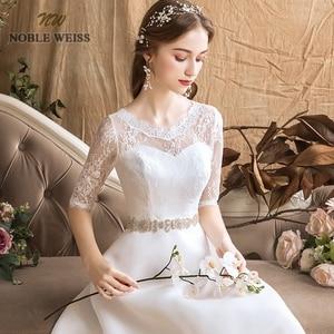Image 5 - Áo Váy Organza Chữ A Đơn Giản Áo Cưới Gợi Cảm Tầng Chiều Dài Tất Cô Dâu Đầm Với Một Nửa Ren Váy Cưới