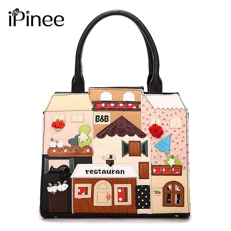 iPinee High Quality Casual Handbag Ladies PU Leather Cube Bag Cartoon Crossbody Bags Women Handbags Famous Brands 2017 bag handbags women famous brands luxury designer handbag high quality pu leather tote handbag ladies women crossbody bags