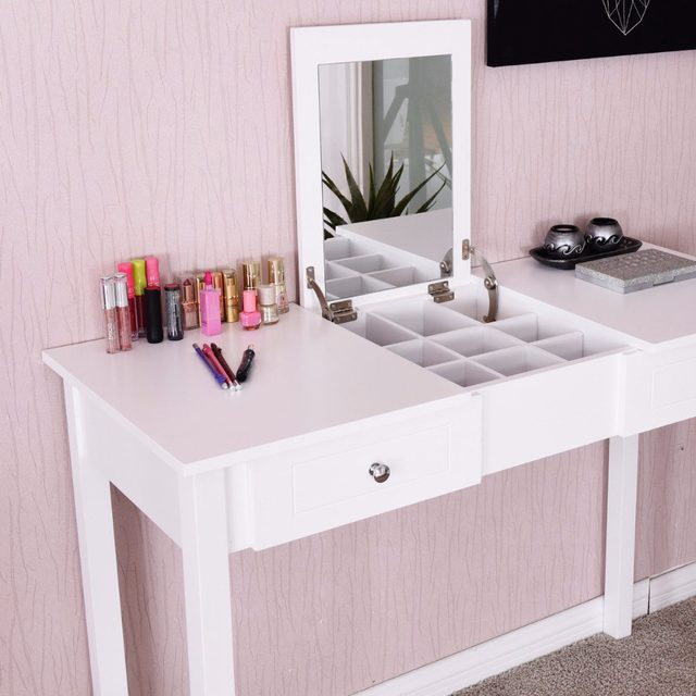 Giantex Modern Makeup Vanity Table White Bedroom Dressing Table Flip Top  Desk With Mirror 2 Drawers Dresser Desks HW56631