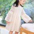 2017 Best Sell Temperament See Through Long Sleeve Baby Girl Princess Dress Children Spring Lace Dress Blouse Pink White Yellow